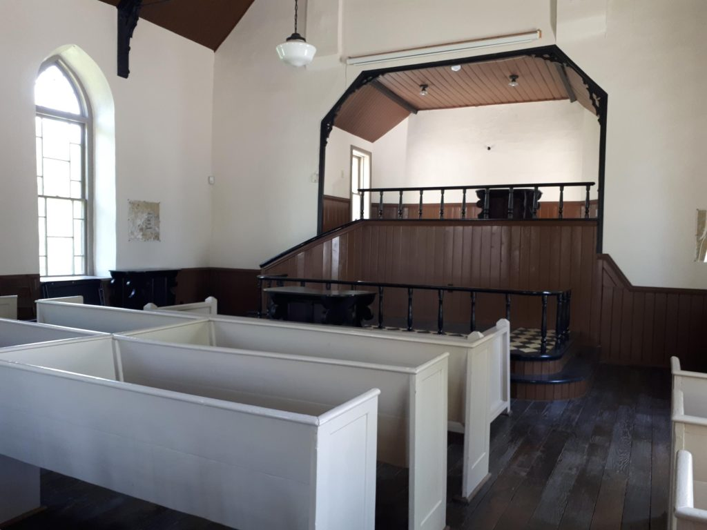 Nazrey African Methodist Episcopal Church, interior. Amherstburg Freedom Museum